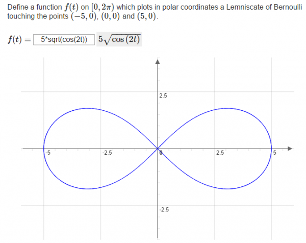 Dynamic rendering of the graph of a student's answer using JSXGraph.