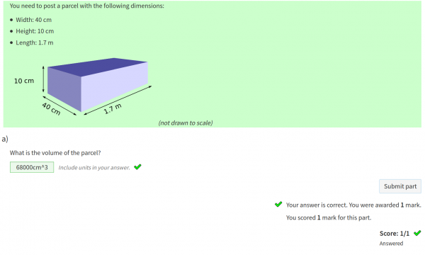 Screenshot of a question with a quantities part, answered