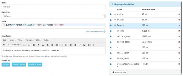 Screenshot of a variable definition involving a random length