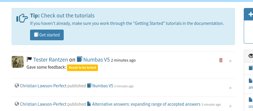 """Tip: Check out the tutorials"" above some text and a button labelled ""Get started"", in a box above the homepage activity timeline."