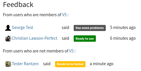 Screenshot of a summary of feedback labels on an item. Users who are members of the item's project are shown separately to other users.