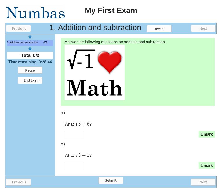 Screenshot of the original Numbas interface.